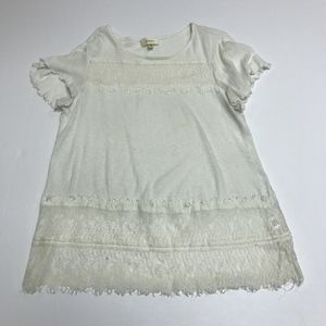Deletta Cotton Linen Lace Ruffle Blouse Shirt Top